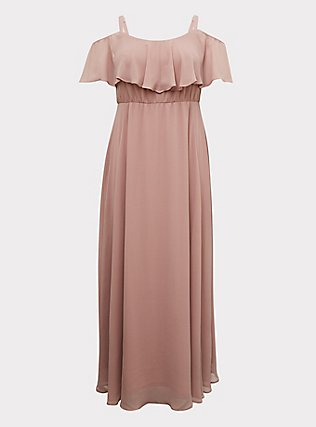 Special Occasion Mauve Pink Chiffon Cold Shoulder Formal Gown, BLUSH, flat