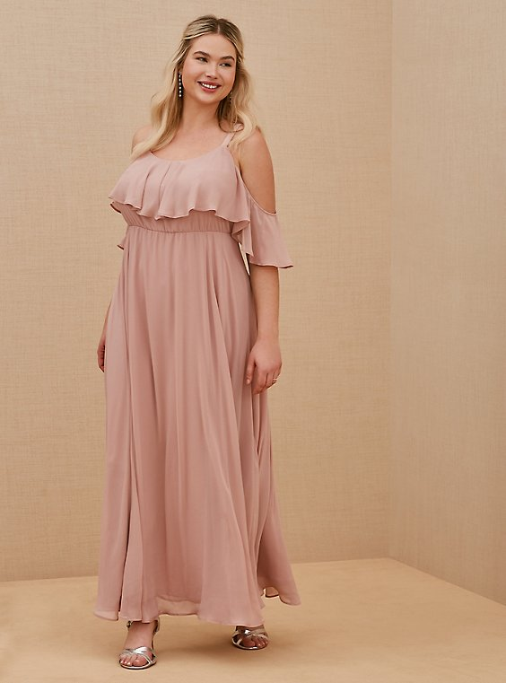 Special Occasion Blush Pink Chiffon Cold Shoulder Formal Gown, , hi-res