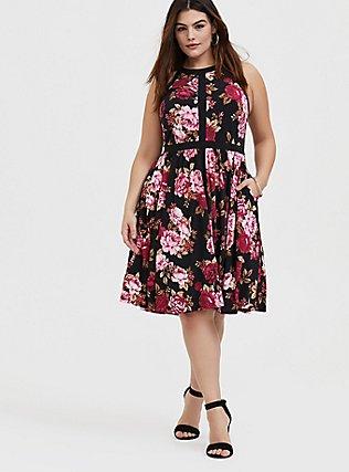 Black Floral Studio Knit High Neck Above-the-Knee Skater Dress, FLORAL - BLACK, alternate