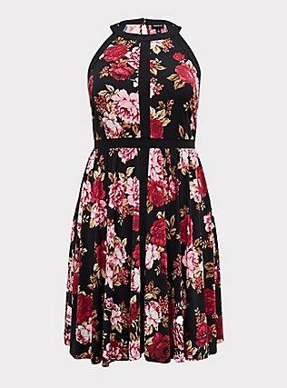 Black Floral Studio Knit High Neck Above-the-Knee Skater Dress, FLORAL - BLACK, flat