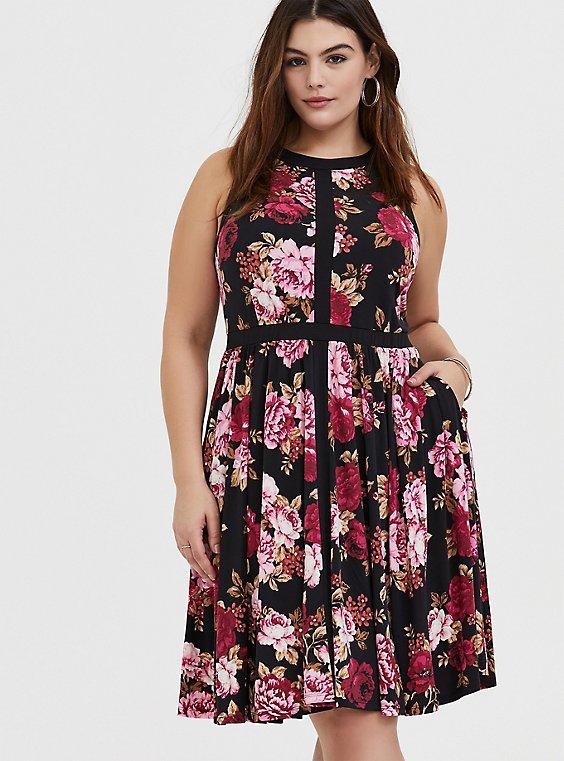 Black Floral Studio Knit High Neck Above-the-Knee Skater Dress, , hi-res