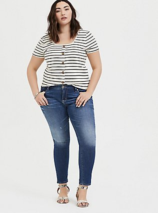 Ivory & Black Stripe Rib Button Midi Tee, STRIPES, alternate