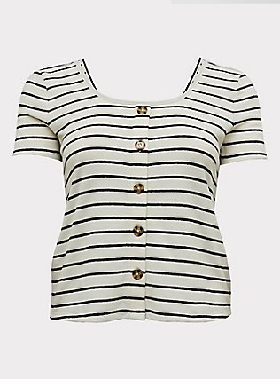 Ivory & Black Stripe Rib Button Midi Tee, STRIPES, flat