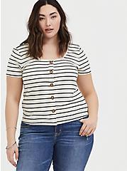 Ivory & Black Stripe Rib Button Midi Tee, STRIPES, hi-res