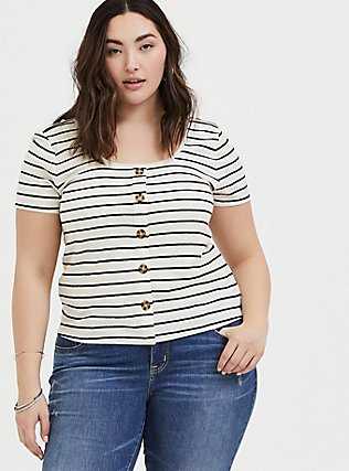 Ivory & Black Stripe Rib Button Midi Tee, STRIPES, hi-res