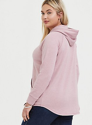 Mauve Pink Fleece Raglan Tunic Hoodie, PALE MAUVE, alternate