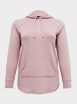 Plus Size Blush Pink Fleece Raglan Tunic Hoodie, PALE MAUVE, flat