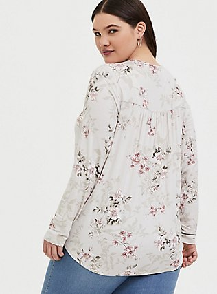 Super Soft Ivory Floral Midi Surplice Top, FLORAL - GREY, alternate