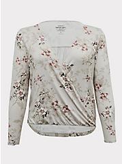 Plus Size Super Soft Ivory Floral Midi Surplice Top, FLORAL - GREY, hi-res