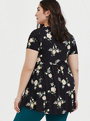 Plus Size Super Soft Black Floral Babydoll Tee, FLORAL - BLACK, alternate