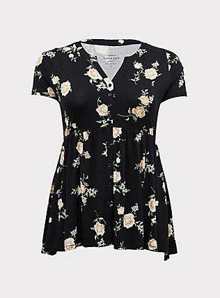 Plus Size Super Soft Black Floral Babydoll Tee, FLORAL - BLACK, flat