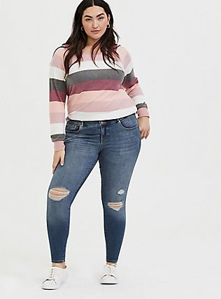 Super Soft Plush Pink Multi Stripe Raglan, STRIPES, alternate