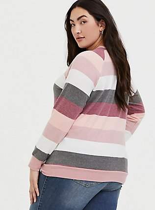 Plus Size Super Soft Plush Pink Multi Stripe Raglan, STRIPES, alternate