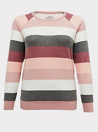 Plus Size Super Soft Plush Pink Multi Stripe Raglan, STRIPES, flat