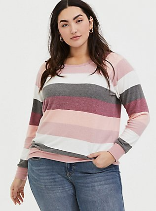 Plus Size Super Soft Plush Pink Multi Stripe Raglan, STRIPES, hi-res