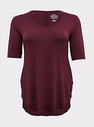 Super Soft Burgundy Purple Favorite Tunic Tee, WINETASTING, flat