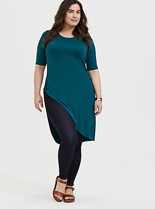 Super Soft Dark Teal Asymmetric Side Knot Tunic , DEEP TEAL, alternate
