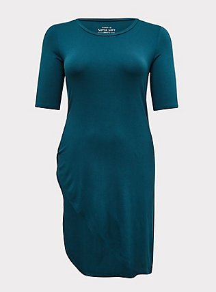 Super Soft Dark Teal Asymmetric Side Knot Tunic , DEEP TEAL, flat