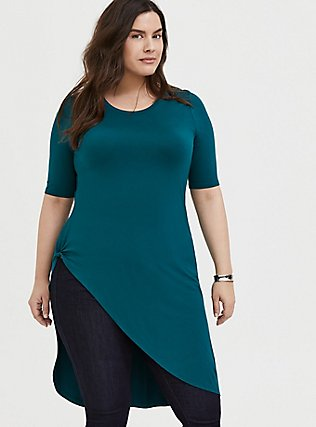 Super Soft Dark Teal Asymmetric Side Knot Tunic , DEEP TEAL, hi-res