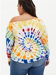 Celebrate Love Rainbow Tie-Dye Off Shoulder Sweatshirt, TIE DYE, alternate