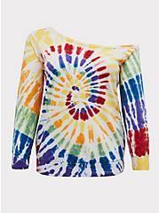 Celebrate Love Rainbow Tie-Dye Off Shoulder Sweatshirt, TIE DYE, hi-res