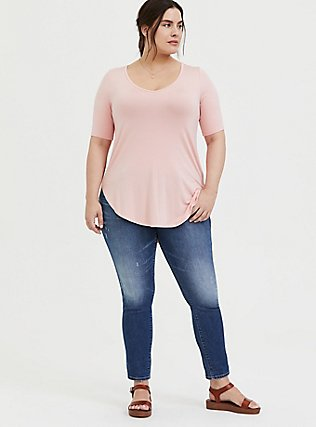 Super Soft Peach Pink Favorite Tunic Tee, BLOSSOM-PINK, alternate