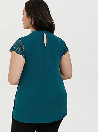 Plus Size Dark Teal Studio Knit Mock Neck Lace Sleeve Top, DEEP TEAL, alternate