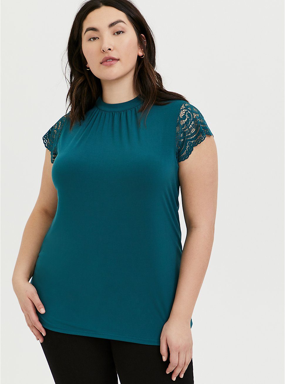 Plus Size Teal Studio Knit Mock Neck Lace Sleeve Top, DEEP TEAL, hi-res