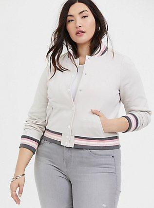Ivory & Multi Stripe Trim Fleece Crop Bomber Jacket, WIND CHIME, alternate