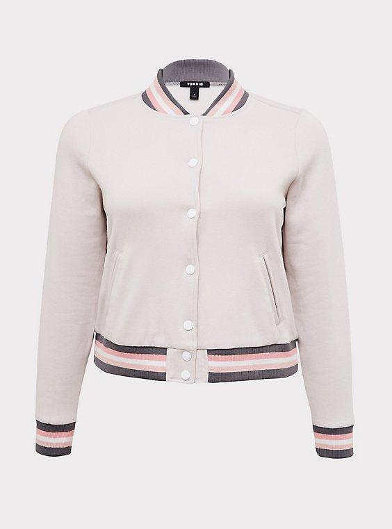 Ivory & Multi Stripe Trim Fleece Crop Bomber Jacket, , flat