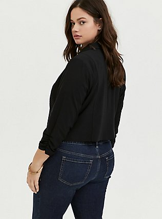 Black Crepe Open Front Blazer, DEEP BLACK, alternate