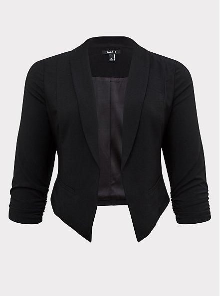 Black Crepe Open Front Blazer, DEEP BLACK, hi-res