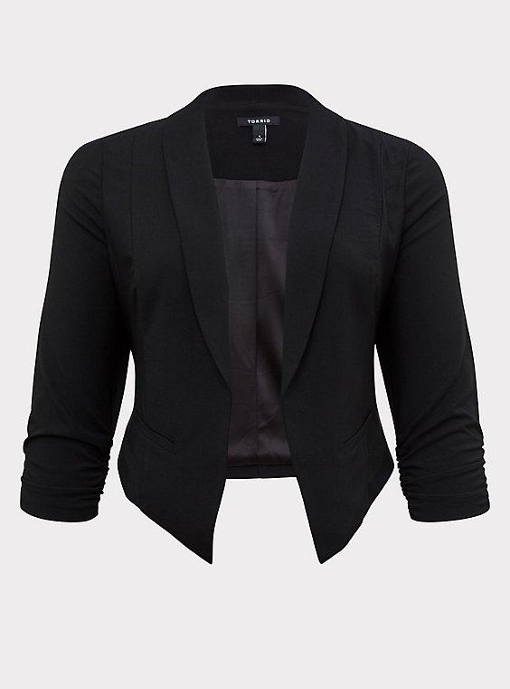Black Crepe Cutaway Blazer, , flat