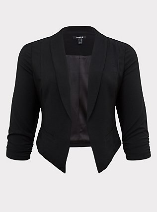 Black Crepe Open Front Blazer, DEEP BLACK, flat