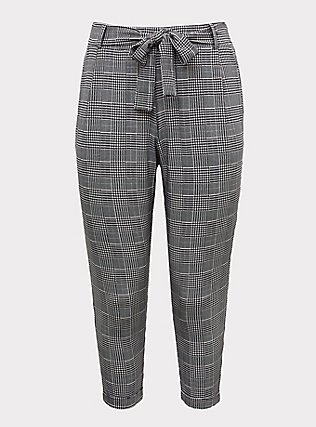 Black Plaid Houndstooth Tie Front Tapered Pant, PLAID, flat