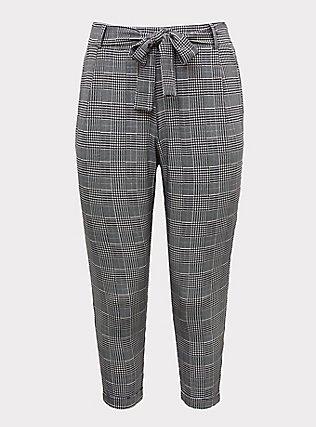 Black Plaid Houndstooth Self Tie Tapered Pant, PLAID, flat