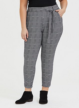 Black Plaid Houndstooth Tie Front Tapered Pant, PLAID, hi-res