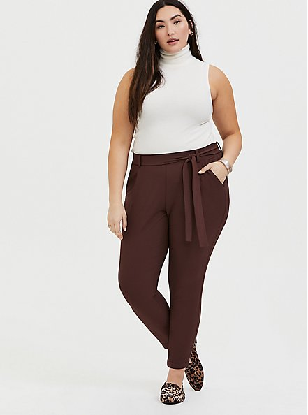 Plus Size Raisin Brown Crepe Self Tie Tapered Pant, PUCE, alternate