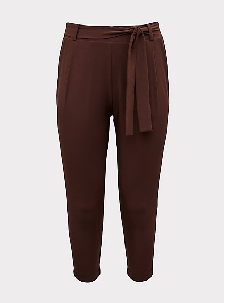 Plus Size Raisin Brown Crepe Self Tie Tapered Pant, PUCE, hi-res