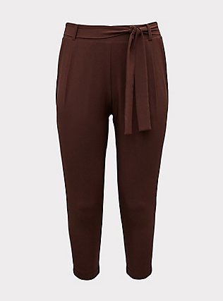 Plus Size Raisin Brown Crepe Tie Front Tapered Pant, PUCE, flat
