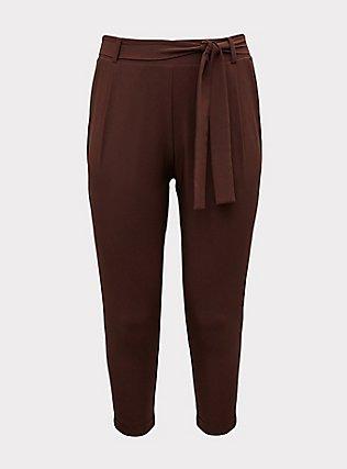Raisin Brown Crepe Self Tie Tapered Pant, PUCE, flat