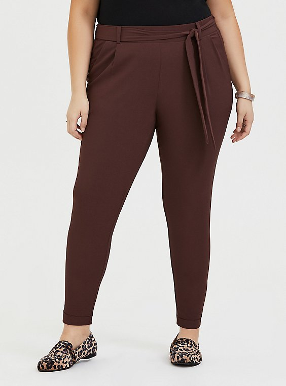 Plus Size Raisin Brown Crepe Self Tie Tapered Pant, , hi-res
