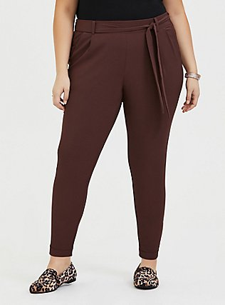 Plus Size Raisin Brown Crepe Tie Front Tapered Pant, PUCE, hi-res