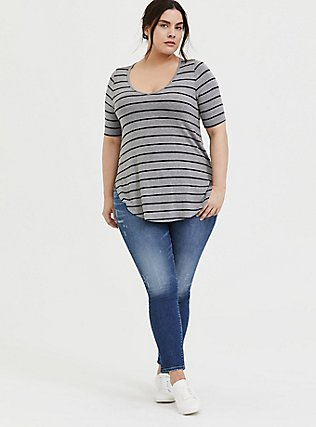 Super Soft Grey & Black Stripe Favorite Tunic Tee, STRIPES, alternate