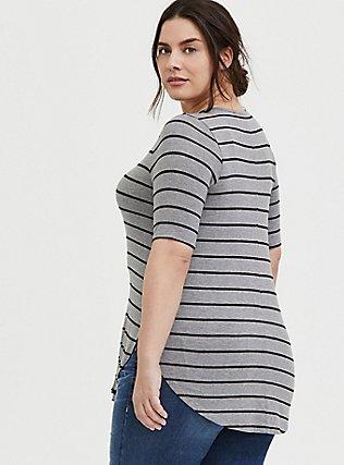 Plus Size Super Soft Grey & Black Stripe Favorite Tunic Tee, STRIPES, alternate