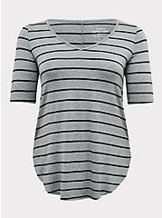 Super Soft Grey & Black Stripe Favorite Tunic Tee, STRIPES, hi-res
