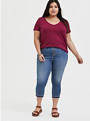 Classic Fit V-Neck Pocket Tee - Heritage Cotton Red Wine, BEET RED, alternate