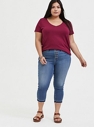 Plus Size Classic Fit V-Neck Pocket Tee - Heritage Cotton Red Wine, BEET RED, alternate