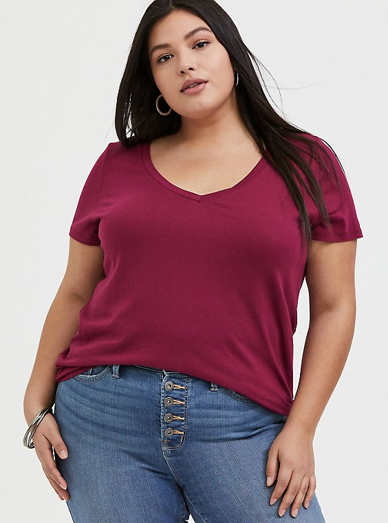Plus Size Classic Fit V-Neck Pocket Tee - Heritage Cotton Red Wine, BEET RED, hi-res