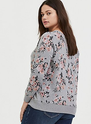 Heathered Grey Floral Fleece Raglan Sweatshirt, FLORAL - GREY, alternate